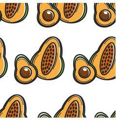 Papaya and avocado cuban organic food seamless vector