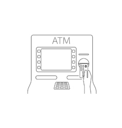Payment by credit card via atm vector image