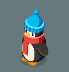 penguin isometric christmas character winter new vector image
