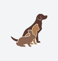 Pets silhouettes dog cat and rabbit logo pet vector