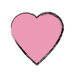 Pink heart love health romantic symbol vector