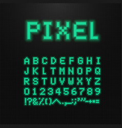 Pixel font letters numbers and signs on vector