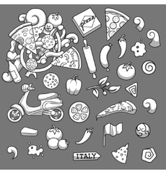 Pizza ingridients black and white design vector