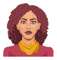 pretty girl with curly red hair on white vector image