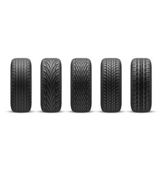 realistic car tires with different tread patterns vector image