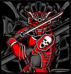 Samurai skull japanese vector