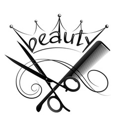Scissors and comb beauty salon crown vector