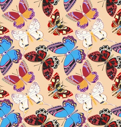 seamless background decorative colored butterflies vector image