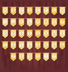 set of cartoon flag garlands with alphabet vector image