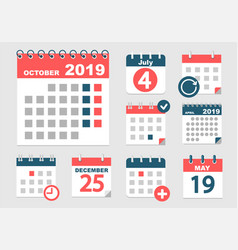 set of different calendars vector image