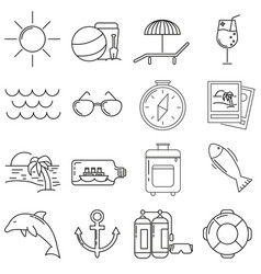 set of icons in line style sea vector image