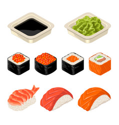 set sushi roll isolated on dark background vector image