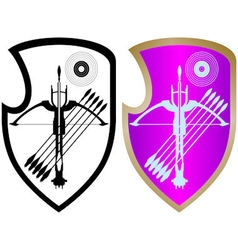 Shield crossbow and arrows-4 vector image