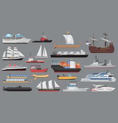 ship set sea ocean transport vessel boat vector image