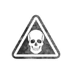 Skull warning sign with pixel print halftone dots vector