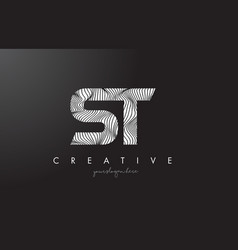 st s t letter logo with zebra lines texture vector image