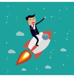 Startup Business Businessman on a rocket vector image