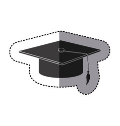 Sticker monochrome graduation hat icon vector