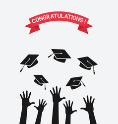 Students throw graduation caps vector