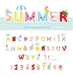 Summer font creative cartoon letters and numbers vector