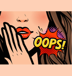 surprised woman oops in pop vector image