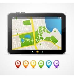 tablet map navigation set infographics vector image
