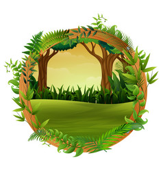 The forest in wood circle vector