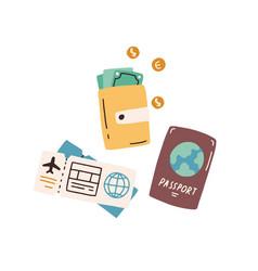 Tourist s items passport wallet with cash vector