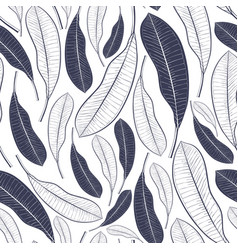 Trendy summer pattern with tropical leaves vector