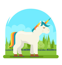 Unicorn fantasy horse wood background cartoon vector