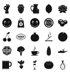 vegetarian cafe icons set simple style vector image