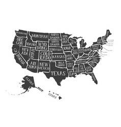 Vintage american poster with states names vector