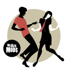 We are mods silhouettes couple wearing retro vector
