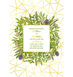 Wedding invitation with greenery vector