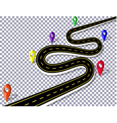 winding road with signs on checker background the vector image