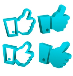 3D Blue Like It Hand Icons vector image vector image