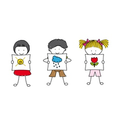 children showing pictures vector image vector image