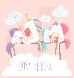 unicorn reading book with friends vector image vector image