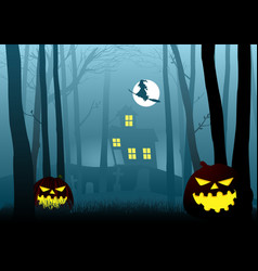 Witch house in the dark scary woods vector