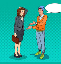 young man explaining to businesswoman pop art vector image vector image