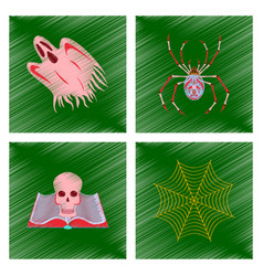Assembly flat shading style icon ghost spider book vector