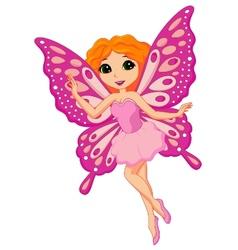 Beautiful pink fairy cartoon vector image