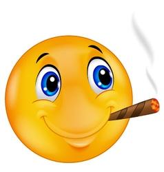 Emoticon smiley smoking cigar vector image