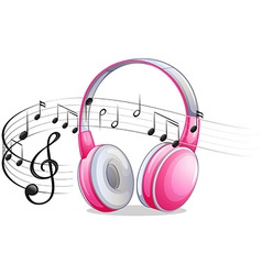 Headphone and notes vector image
