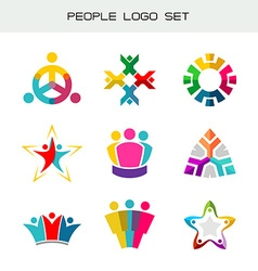 People logo set Group of two three four or five vector image vector image