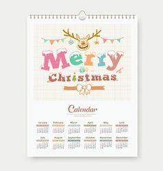 Calendar sketch Merry Christmas Reindeer design vector image vector image