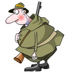 cartoon surprised man hunter with a gun vector image vector image