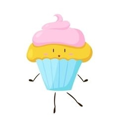 Funny fast food cupcake icon vector image vector image