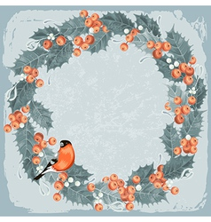 Holly berry wreath vector image vector image