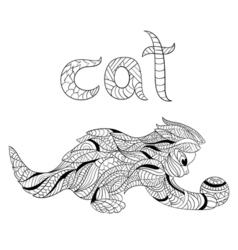 monochrome hand drawn zentagle of cat Coloring vector image vector image